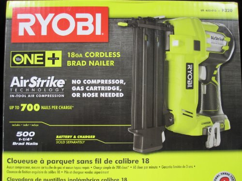 Ryobi P325 One+ 18V Lithium Ion Battery Powered Cordless 16 Gauge Finish Nailer (Battery Not Included, Power Tool Only) Air Powered Nailers