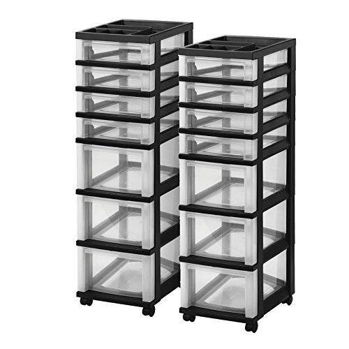 (IRIS 7-Drawer Storage Cart with Organizer Top, Black, 2 Pack)