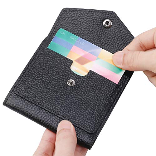 Lavemi RFID Blocking Small Compact Mini Bifold Credit Card Holder Leather Pocket Wallets for Women with Quick access ID Slot(Black)