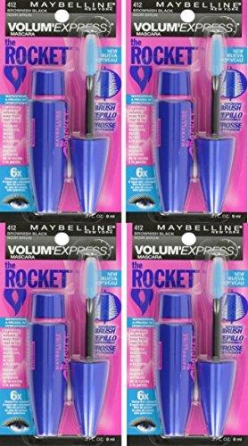 (4 Pack) Maybelline New York Volume' Express The Rocket Waterproof Mascara, Brownish Black, 0.3 Fluid Ounce