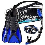Seavenger Diving Snorkel Set - (Black Silicon/Blue) - L