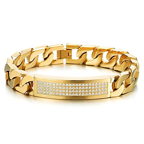 Gold Mens Id Bracelet - Hip Hop Mens Stainless Steel Gold Color ID Identification Curb Chain Bracelet with Cubic Zirconia