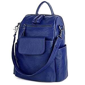 UTO Women Backpack Purse 3 ways PU Washed Leather Ladies Rucksack Shoulder Bag Blue