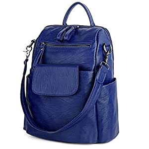 UTO Women Backpack Purse 3 ways PU Washed Leather Ladies Rucksack Shoulder Bag Blue