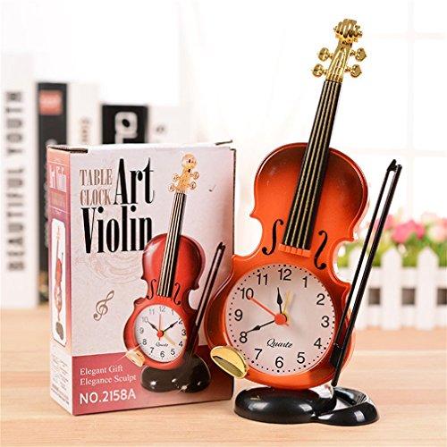 Desk Table Clocks - Unique Instrument Shape Table Clock Student Violin Decor Fiddle Quartz Alarm Desk Plastic Craft - Clock Table Desk DeskDecor Watch Clock Desk Desk Clock Antique ()