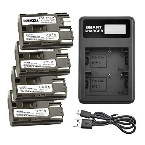 Bonacell 4Pack Replacement Canon BP-511/BP-511A Battery and Dual Charger for Canon EOS 50D, 40D, 30D, 20Da, 20D, 10D, 5D 300D Digital Rebel D30 D60 PowerShot G6 G5 G3 G2 G1 Pro 1 Pro 90 Pro 90is