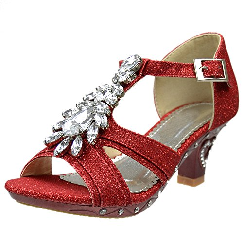 Girls T-Strap Rhinestone Jewel Glitter Pageant Dress High Heel Sandals Red