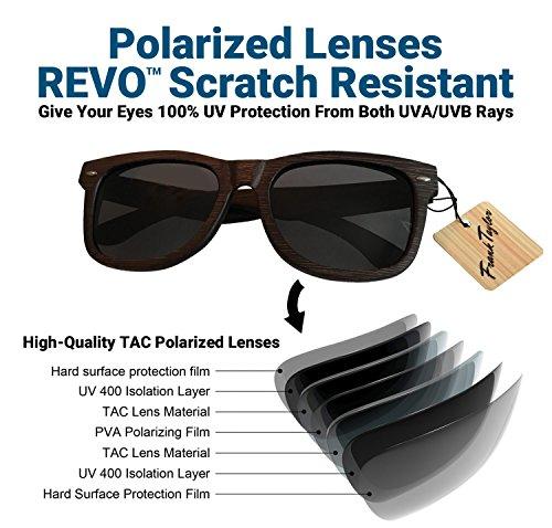 Wooden Sunglasses by Frank Taylor - Dark Bamboo - Handmade - 1 Year Warranty - Polarized - UV400