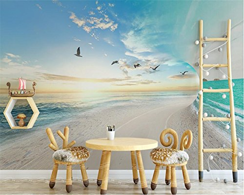 BZDHWWH Custom Wallpaper Mural Nordic Small Fresh 3D Beach Seagull Sea Sky Landscape Background Wall 3D Wallpaper Tapety,50cm (H) x 70cm (W)