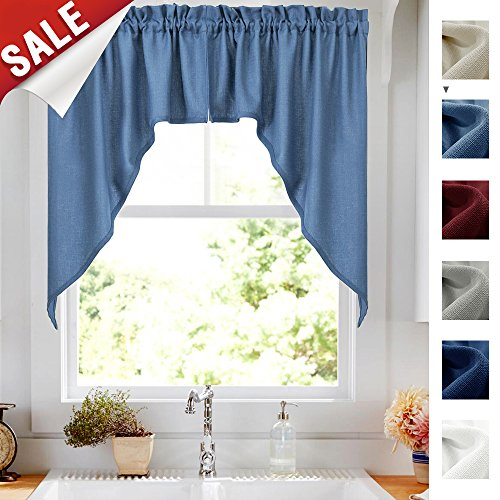 2 Panels Swags and Valances Set Window Treatments, Blue Semi-Sheer Casual Weave Textured Swag Valance Curtains for Kitchen (72