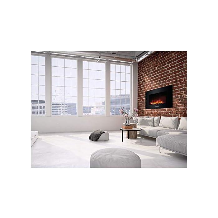 51Ik9Ou8ENL Chimenea eléctrica de pared, con caja de acero y panel frontal de vidrio templado 2 configuraciones de calefacción para elegir: 875-1750w Con mando a distancia multifunción para ajuste de llama led, que puede permanecer encendida incluso si la función de calefacción no está activa