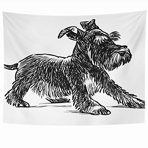 Ahawoso Tapestry 80 x 60 Inches Pet Dog Schnauzer Puppy Wildlife Nature Drawing Beard Black Canine Design Shaggy Wall Hanging Home Decor Tapestries for Living Room Bedroom Dorm
