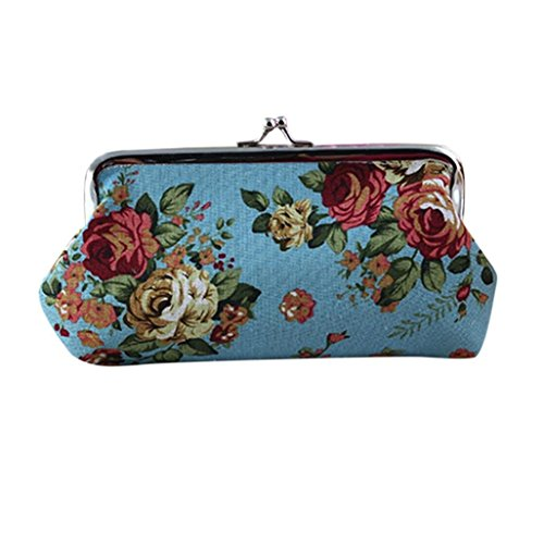 Clearance! FDelinK Coin Pouch Canvas Card Purse Clasp Closure Classic Flower Pattern Keys Wallet Gift (Blue)