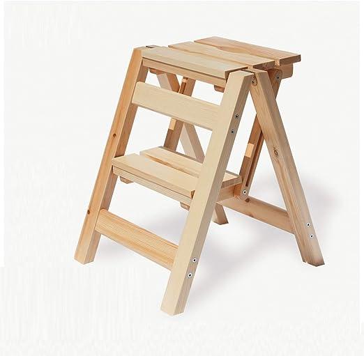 LSXLSD Escalera plegable Banco de trabajo de madera maciza de madera de madera maciza en forma