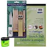 Pro Art Beginner Pencil Sketch Set, 40 Sheet Sketch Pad and Prismacolor Pencil Sharpener (Bundle of 3 Items)