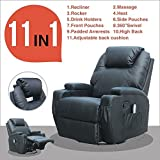 Massage Recliner Sofa Chair Ergonomic Lounge Swivel Heated W/Control in Black