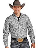 Tuf Cooper Performance Men's Grey Paisley Western Shirt Grey X-Large
