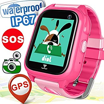 [FREE Speedtalk SIM Card] Kids Smart Watch Phone IP68 Waterproof GPS Tracker for Girls Boys Birthday Holiday Gifts Game Toy Watch Camera Cellphone SOS ...
