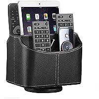 Callas PU Leather 360 Degree Rottable Remote Holder/Desk Organizer/Pen Stand/Home Organizer, Black CA301