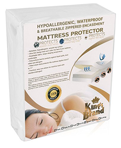 Kings Brand Zippered Fully Encased Waterproof, Dust Mite Proof, Bed Bug Proof Fabric Breathable Mattress Protector - Queen Size