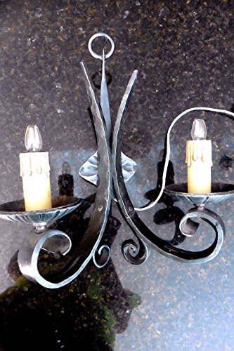 Wrought Iron Wall Sconce Vintage Gothic Candle Double Light Electric swirl WORKS (Connector Swirl)