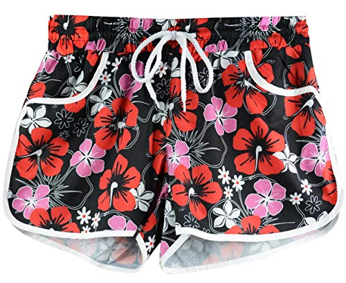 (Women's Sports Printed Beach Shorts Drawstring Elastic Waistband Summer Causal Boardshort Red Floral L)