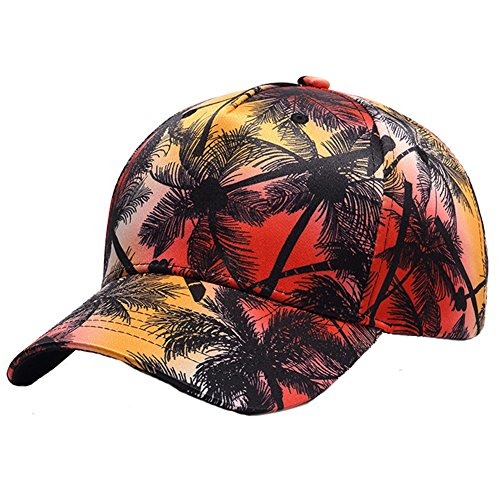 Maticr Unisex Palm Tree Printed Dad Hat Snapback Baseball Cap Tropical Flat Hats (Sunset - Curved Bill)