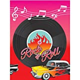 """Nifty 50's Theme Party """"Rock & Roll"""" Vinyl Record Plastic Table Cover Tableware, , 54"""" x 102"""""""