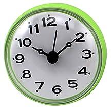 Shower Clocks, Peleustech Suction Cup Bathroom Kitchen Waterproof Round Mini Clock - Green