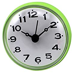 XSHION Shower Clock, Mini Wall Clock Suction Cup Water Resistant for Bathroom Kitchen (Green)
