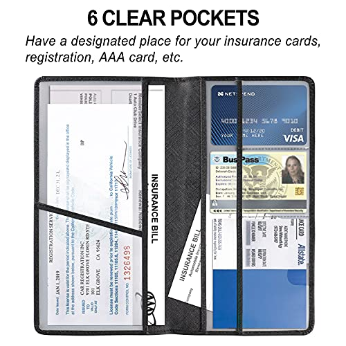 VIQWYIC Car Registration and Insurance Document Holder, Vehicle Glovebox Card Organizer Wallet Case for ID Card, Driver's License, Essential Automobile Documents - Black
