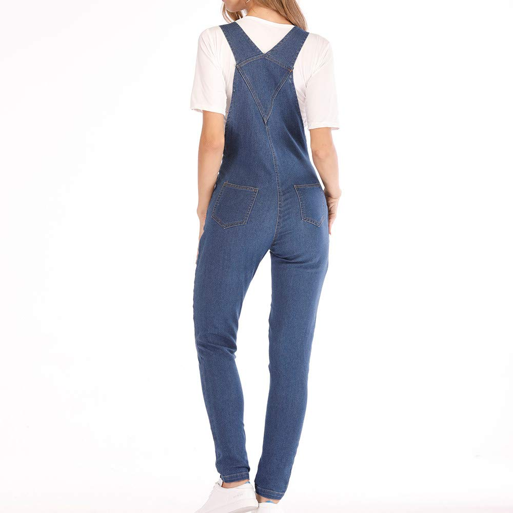 Backless Basic Fit Rompers Bib Pants Jumpsuits with Pocket 4Clovers Womens Casual Straps Denim Bib Overalls V
