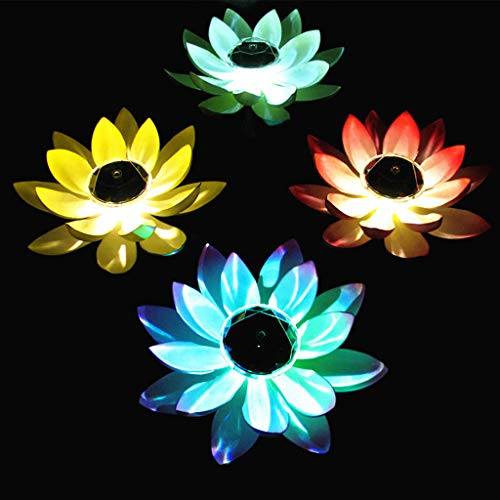 Gotian Solar Powered LED Flower Light Floating Fountain Pond Garden Pool Lamp, Decorating and Lighting Your Garden Pond, Work as a Special Wishing Lamp (White)