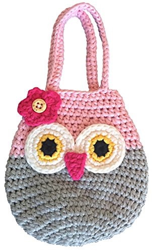 Happy Owl Mini Purse, Cute Pink & Grey First Handbag For Little Girls, 100% Handmade, Natural Soft Cotton Crochet, Great 3, 4 Year Old Girl Gifts, She Will Adore This!
