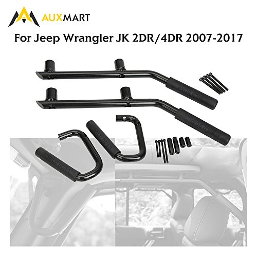 AUXMART Grab Handles Kit Front & Rear Grab Bars for Jeep Wrangler JK 2DR/4DR 2007-2017 Solid Steel (Black) ()