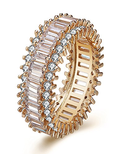 Ginger Lyne Collection Eternity Baguette Cut CZ Rose Gold Plated Band ()
