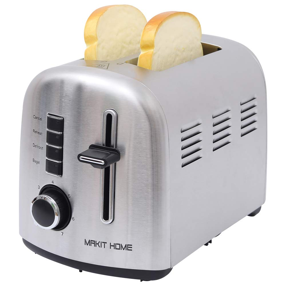 2 Slice Toaster, Stainless Steel Compact Toaster, Top Rated Best Prime, Retro Small Toaster with Bagel/Cancel/Defrost Function/Reheat, Extra Wide Slot, Compact Stainless Steel Toasters, Toasters Oven