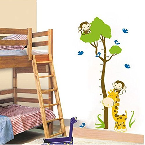 Le-nest® Naughty Monkey and Giraffe Height Chart Tree Nursery Kids Room Boys and Girl's Room PVC Removable Wall Sticker Home Art Decor Wall Decals Wallpaper Mural