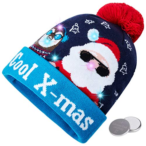 RAISEVERN Unisex Ugly LED Cool Santa's Hat Novelty Colorful Light-up Stylish Knitted Sweater Merry Christmas Beanie Hats for Family Xmas Party]()