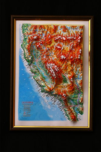 (California Map 3D Raised Relief Framed Map Amazing Decorative Bird's-Eye View)