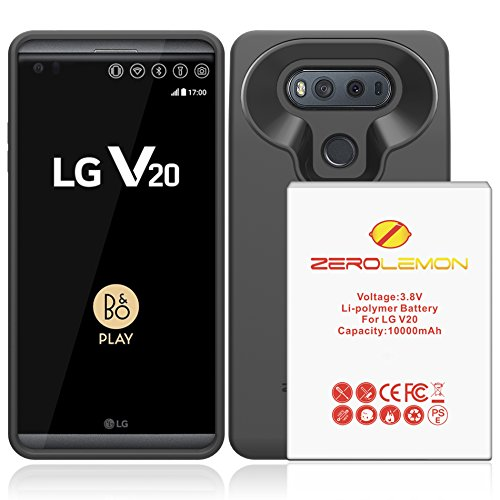 LG V20 Battery Case, ZeroLemon LG V20 10000mAh TriCell Extended Battery with Soft TPU Full Edge Protection Case - Black