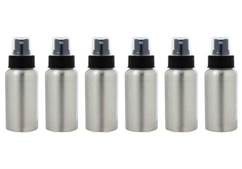 AKOAK 6 Pcs 1 Oz Aluminum Fine Mist Spray Bottles with Black Pump Spray Cap,Great for Cleaning, Travel, Perfume