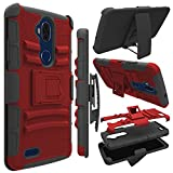 zte blade 3 case - ZTE Blade Max 3 Case, Zenic Heavy Duty Shockproof Full-body Protective Hybrid Case Cover with Swivel Belt Clip and Kickstand for ZTE Blade Max 3/Z986U /Z986DL (Red/Black)