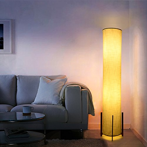 HOOOM Floor Lamp 52'' Led Modern Design Wood Base with Double Soft Diffused Linen Fabric Shade, Tall Unique Bedroom Standing Floor Lamp for Living or Family Room, Office, Placed In a Corner Space Saver by HOOOM Floor Lamp (Image #1)