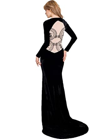 ohyeahlady Womens Backless Velvet Dress Floor Length Dress Long Sleeve Lace Evening Gowns Formal Black UK