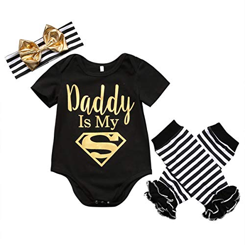- Dad is My Personal Newborn Infant Infant Girls Clothes Short Sleeve Romper Striped Legging Hotter Headwear 3PCS Outfit Clothes Full Moon Gift