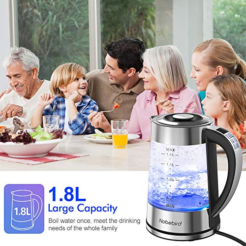 Nobebird 1500W Electric Glass Kettle 1.8L BPA-Free Electric Tea Kettle with Adjustable Temperatures, 1-24H Keep Warm Auto Shut Off, Fast Boiling Water Kettle with Blue Light