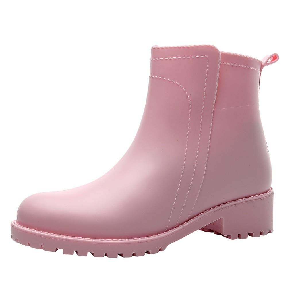 ZODOF Botas de Agua Mujer Estilo Punk Tubo Corto Botas de Nieve Antideslizante Botas de Lluvia Al Aire Libre Caucho Zapatos de Agua Bota Seguridad Mujer