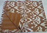 Kiara Indian Kantha Quilts Cotton Floral Print Bedspreads & Coverlets Ikat reversible paisley Pattern Stitch Throws Twin Size / Queen Size (Wood Brown, Twin)
