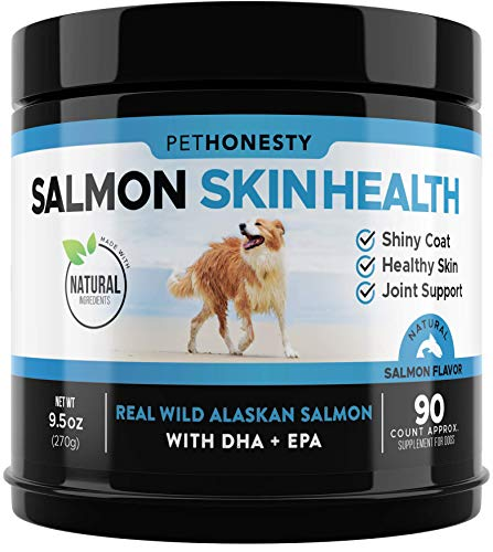 PetHonesty Salmon SkinHealth for Dogs – Omega 3 Fish Oil for Dogs All-Natural Wild Alaskan Salmon Chews for Dogs for Healthy Skin & Coat, Cure Itchy Skin, Dog Allergies, Reduce Shedding – 90 Ct.